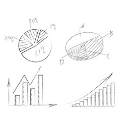 set of graphs with arrows vector image vector image