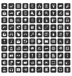 100 mobile icons set black vector