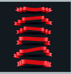 3d realistic red shiny ribbons set vector image