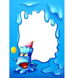 A blue border design with a monster wearing a hat vector image