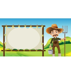 A farmer beside the empty signage vector image
