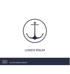 Anchor emblem with circular rope frame vector