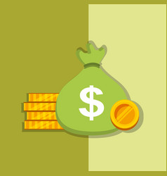 bag money and pile coins cash dollar vector image