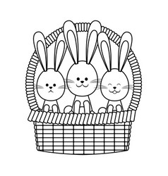 Basket rabbits easter celebration ornament festive vector