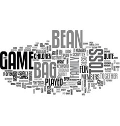 Bean bag toss game text word cloud concept vector