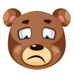 Bear is feeling sad on white background vector