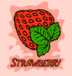 beautiful red strawberry on pink background vector image