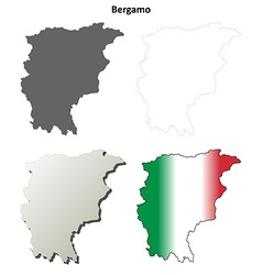 Bergamo blank detailed outline map set vector