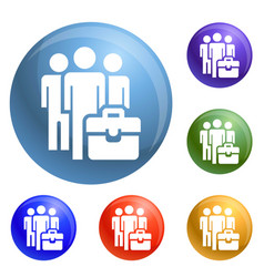 business people group icons set vector image