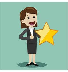 businesswoman hold a big gold star victory vector image