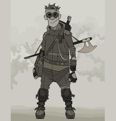 Cartoon benevolent man in post apocalyptic clothes vector
