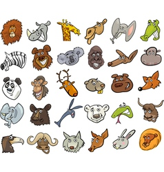 Cartoon wild animals heads huge set vector