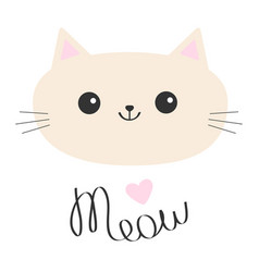 cat head icon cute funny cartoon character meow vector image