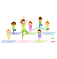 Children do yoga with a yoga instructor vector