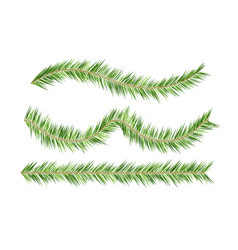 Christmas tree decorations fir branches borders vector