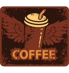 Coffee cup with wings vector