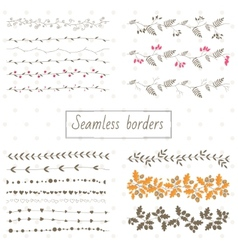 Collection of decorative seamless borders vector image