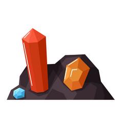 Colorful gemstones in quarry precious stones mine vector