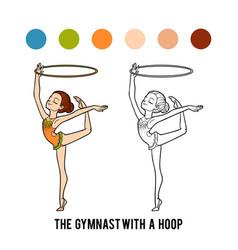 Coloring book gymnast with a hoop vector