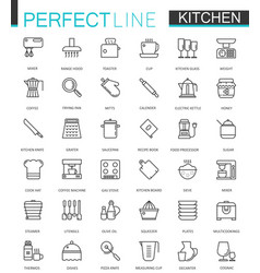 cooking and kitchen thin line web icons set vector image