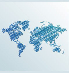 creative world map made with scribble vector image