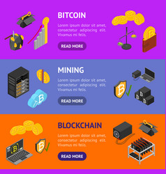 cryptocurrency mining blockchain 3d banner vector image