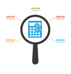 currency calculator icon magnifying glass vector image