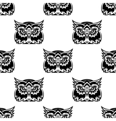 Cute little wise old owl seamless pattern vector