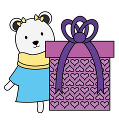 Cute polar bear with gift in birthday party vector