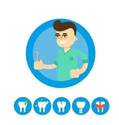 Dentist with tooth vector