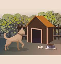Dog walking in yard summertime vector
