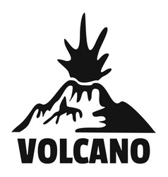 Erupting volcano logo simple style vector