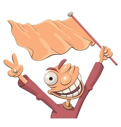 Excited sports fan with a flag vector