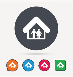 Family icon father and mother in home sign vector