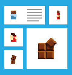 flat icon cacao set of sweet wrapper bitter and vector image