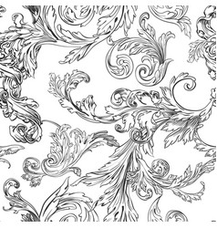 foliage and flora vintage flowering monochrome vector image