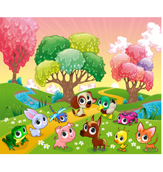 funny animals in magic wood vector image