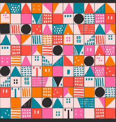Geometric houses and hand drawn textured shapes vector