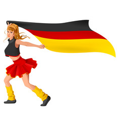german girl cheerleader fan hold flag soccer vector image