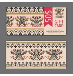 Gift card template with a national ornament vector