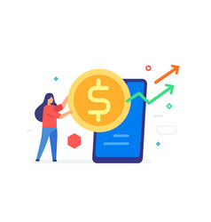 girl money smartphone icon vector image