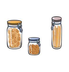 Glass jar with swing top lid set sketch vector