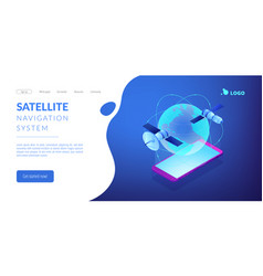 global web connection isometric 3d landing page vector image