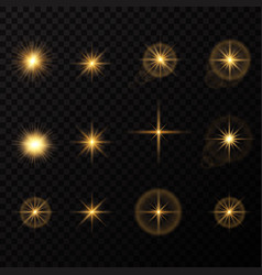 glowing lights and stars isolated on black vector image