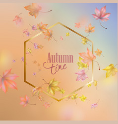 golden frame with autumn leaves vector image