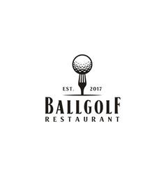 golf ball fork sport restaurant bar logo vector image