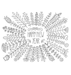 Happy new year floral greeting vector