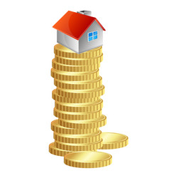 house on a pile gold coins vector image