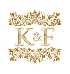 k and f vintage initials logo symbol letters vector image