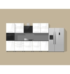 Kitchen furniture cabinets interior vector image